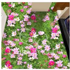 КОВРИК 3D цветы розовые