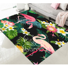 КОВРИК В ГОСТИНУЮ фламинго с цветами