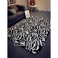 КОВРИК ПЛЮШЕВЫЙ  черно белый зебра